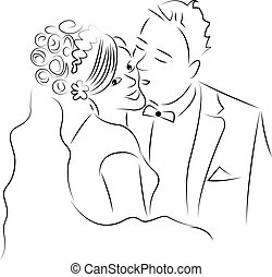 just married couple cartoon