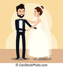 just married couple dancing avatars characters