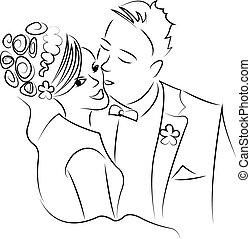 just married couple dancing, cartoon vector