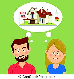 Just married couple dreaming about a new house. Real state for sale concept