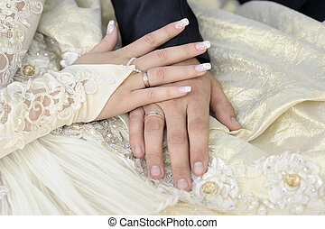 Just married couple hands. Focus on a bride hand.