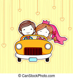 Just Married Couple - illustration of just married couple in...