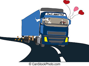 Just married couple in a truck as an illustration