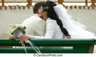 just married couple  in autumn park