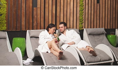 Just married couple is enjoying spa wellness treatments...