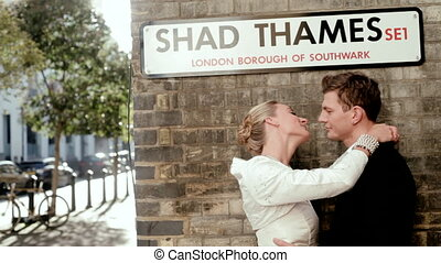 Just married couple kiss in London