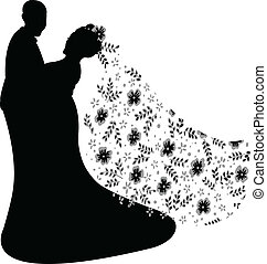 just married couple silhouette, vec