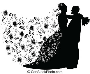 just married couple silhouette, vector