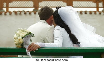 just married couple sitting - just married Crimean Tatar...