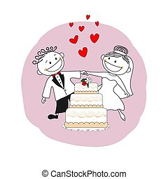 Just married couple, wedding invitation card