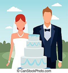 just married couple with wedding cake, colorful design