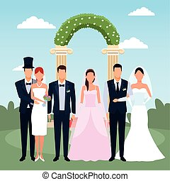 Just married couples standing over floral weding arch and landscape background, colorful design, vector illustration