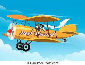 Just Married - Just married couple flies honeymoon trip on...