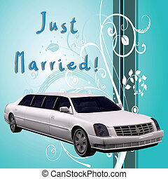 Just Married - White limousine with decorative background...