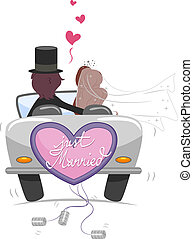 Just Married - Illustration of a Newlywed Couple Driving...