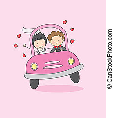 just married drive to their honeymoon