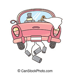 just married car isolated over white background. vector...