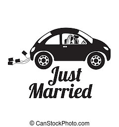 just married design over white background vector...