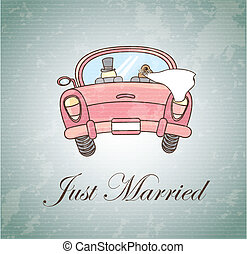 Just Married - Just married over vintage background vector...