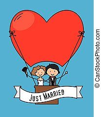 just Married flying in balloon