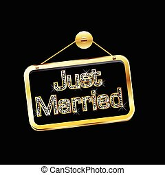 Just married gold sign