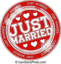 just married grunge stamp vector