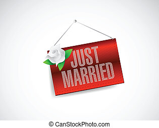 just married hanging banner sign illustration