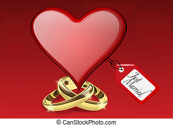 Just married illustration with heart and golden rings