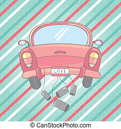 just married design over lineal background vector...