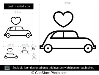 Just married line icon. - Just married vector line icon ...