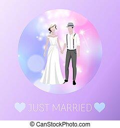 Just married newly weds bride and bridegroom wedding defocus background cartoon vector illustration.