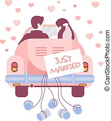 Just Married on Car. Vector Illustration