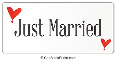 Just Married Plaque - A just married plaque in white over a ...