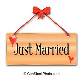Just Married Sign - A just married plaque in woodgrain with...