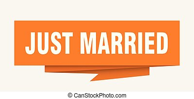 just married sign. just married paper origami speech bubble....
