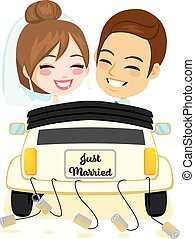 Just Married Smiling Couple Car