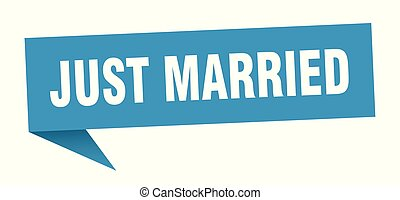 just married speech bubble. just married sign. just married...