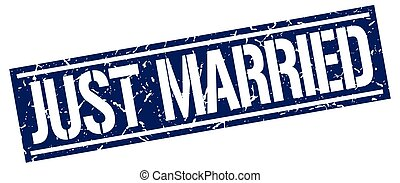 just married square grunge stamp