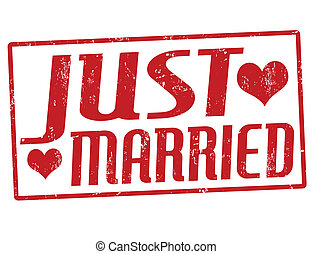 Just married stamp - Just married grunge rubber stamp,...