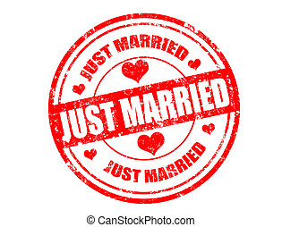 Grunge rubber stamp and the text just married written inside, vector illustration