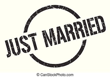 just married stamp - just married black round stamp