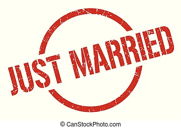just married stamp - just married red round stamp