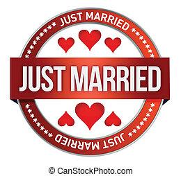Just Married stamp print illustrati