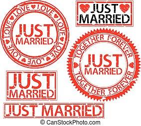 Just married stamp set, vector illustartion