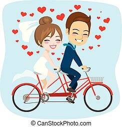 Just Married Tandem Bicycle Couple