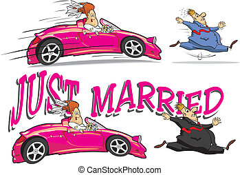 just married - the bride with a bouquet of flowers chasing ...