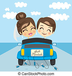 Just Married Trip - Just married couple driving a blue car...