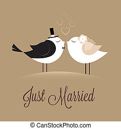 Just Married - two birds in love Just married on brown ...