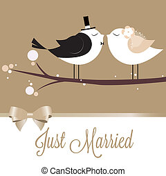 Just Married - two cute birds in love just married