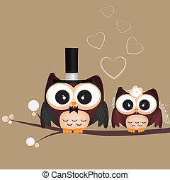 Just Married - two cute owls on brown background just...